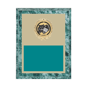 """7"""" x 9"""" Drama Plaque with gold background plate, colored engraving plate, gold wreath medallion and Drama insert."""
