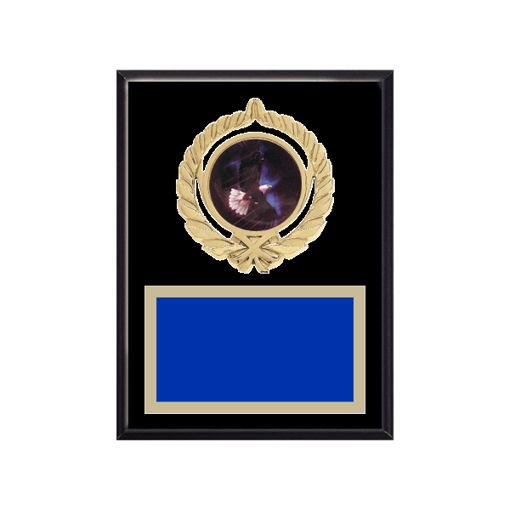 """6"""" x 8"""" Eagle Plaque with gold background plate, colored engraving plate, gold open wreath medallion holder and Eagle insert."""