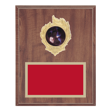 "8"" x 10"" Eagle Plaque with gold background, colored engraving plate, gold flame medallion holder and Eagle insert."