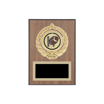 "5"" x 7"" Football Plaque with gold background plate, colored engraving plate, gold open wreath medallion holder and Football insert."