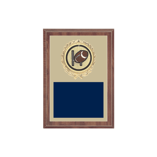 """5"""" x 7"""" Football Plaque with gold background plate, colored engraving plate, gold wreath medallion and Football insert."""