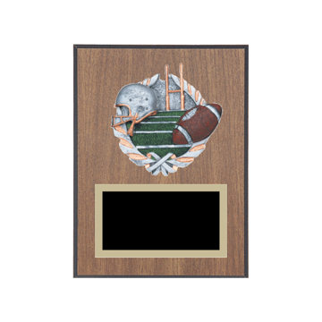 "6"" x 8"" Football Plaque with gold background plate, colored engraving plate and full color 3D resin Football medallion."