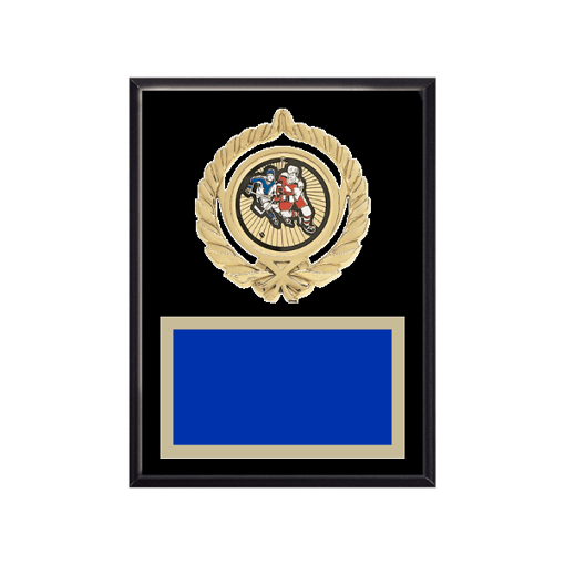 """6"""" x 8"""" Hockey Plaque with gold background plate, colored engraving plate, gold open wreath medallion holder and Hockey insert."""
