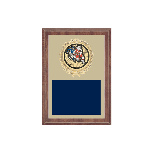 """5"""" x 7"""" Hockey Plaque with gold background plate, colored engraving plate, gold wreath medallion and Hockey insert."""