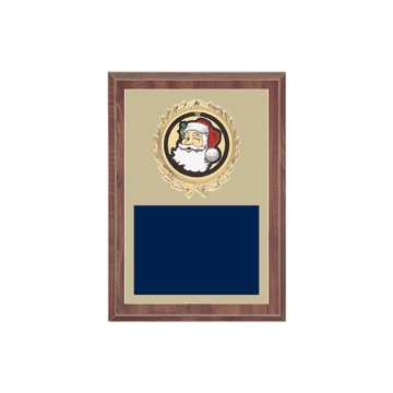 "5"" x 7"" Holiday Plaque with gold background plate, colored engraving plate, gold wreath medallion and Holiday insert."