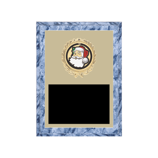 """6"""" x 8"""" Holiday Plaque with gold background plate, colored engraving plate, gold wreath medallion and Holiday insert."""