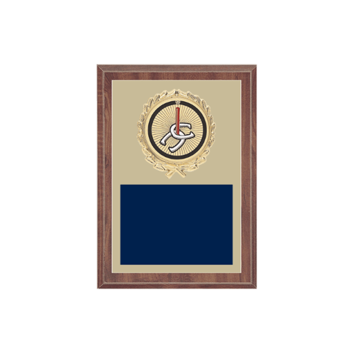 """5"""" x 7"""" Horseshoe Plaque with gold background plate, colored engraving plate, gold wreath medallion and Horseshoe insert."""