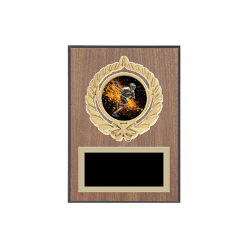 "5"" x 7"" Lacrosse Plaque with gold background plate, colored engraving plate, gold open wreath medallion holder and Lacrosse insert."
