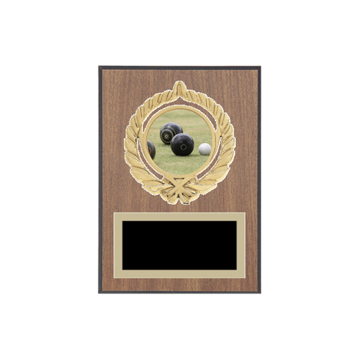 """5"""" x 7"""" Lawn Bowling Plaque with gold background plate, colored engraving plate, gold open wreath medallion holder and Lawn Bowling insert."""