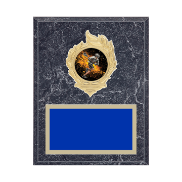 "7"" x 9"" Lacrosse Plaque with gold background, colored engraving plate, gold flame medallion holder and Lacrosse insert."