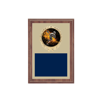 "5"" x 7"" Lacrosse Plaque with gold background plate, colored engraving plate, gold wreath medallion and Lacrosse insert."