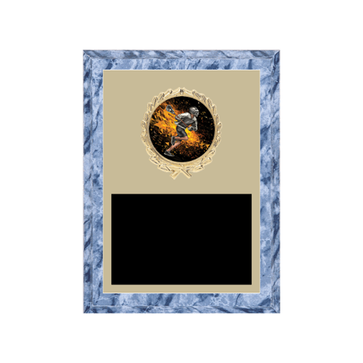 """6"""" x 8"""" Lacrosse Plaque with gold background plate, colored engraving plate, gold wreath medallion and Lacrosse insert."""