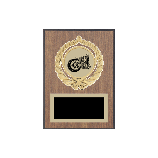 """5"""" x 7"""" Motorcycle Riding Plaque with gold background plate, colored engraving plate, gold open wreath medallion holder and Motorcycle Riding insert."""