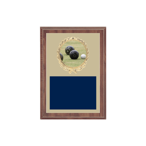 """5"""" x 7"""" Lawn Bowling Plaque with gold background plate, colored engraving plate, gold wreath medallion and Lawn Bowling insert."""