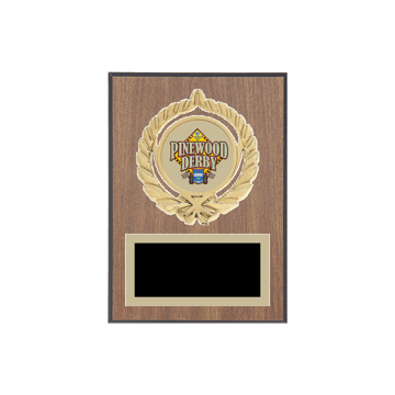 "5"" x 7"" Pinewood Derby Plaque with gold background plate, colored engraving plate, gold open wreath medallion holder and Pinewood Derby insert."