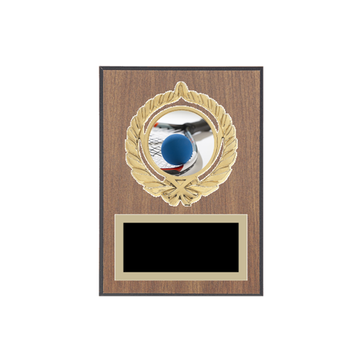 """5"""" x 7"""" Racquetball Plaque with gold background plate, colored engraving plate, gold open wreath medallion holder and Racquetball insert."""