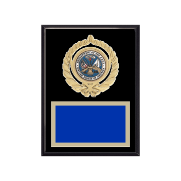 """6"""" x 8"""" Military Plaque with gold background plate, colored engraving plate, gold open wreath medallion holder and Military insert."""