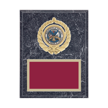 """7"""" x 9"""" Military Plaque with gold background plate, colored engraving plate, gold open wreath medallion holder and Military insert."""