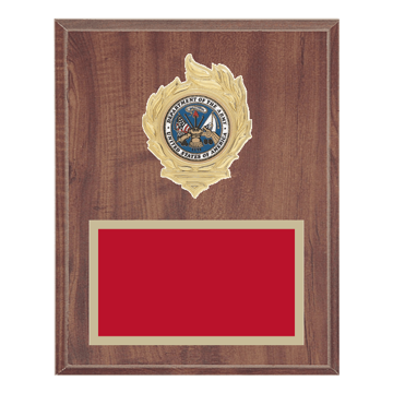 """8"""" x 10"""" Military Plaque with gold background, colored engraving plate, gold flame medallion holder and Military insert."""