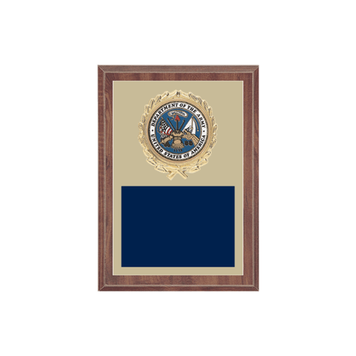 """5"""" x 7"""" Military Plaque with gold background plate, colored engraving plate, gold wreath medallion and Military insert."""