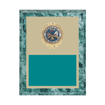 """7"""" x 9"""" Military Plaque with gold background plate, colored engraving plate, gold wreath medallion and Military insert."""