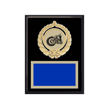 """6"""" x 8"""" Motorcycle Riding Plaque with gold background plate, colored engraving plate, gold open wreath medallion holder and Motorcycle Riding insert."""