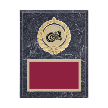 """7"""" x 9"""" Motorcycle Riding Plaque with gold background plate, colored engraving plate, gold open wreath medallion holder and Motorcycle Riding insert."""