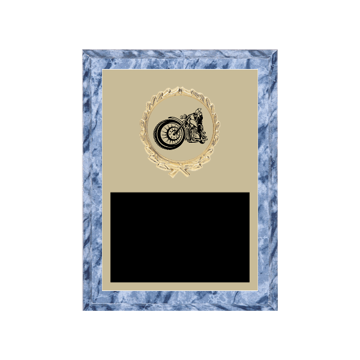 """6"""" x 8"""" Motorcycle Riding Plaque with gold background plate, colored engraving plate, gold wreath medallion and Motorcycle Riding insert."""