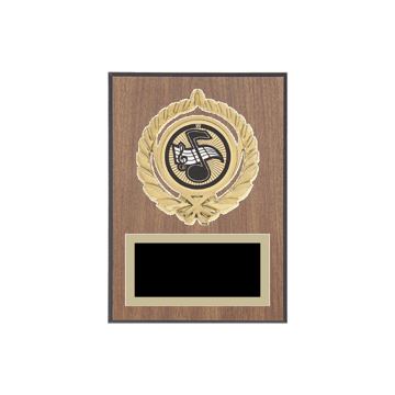 "5"" x 7"" Music Plaque with gold background plate, colored engraving plate, gold open wreath medallion holder and Music insert."