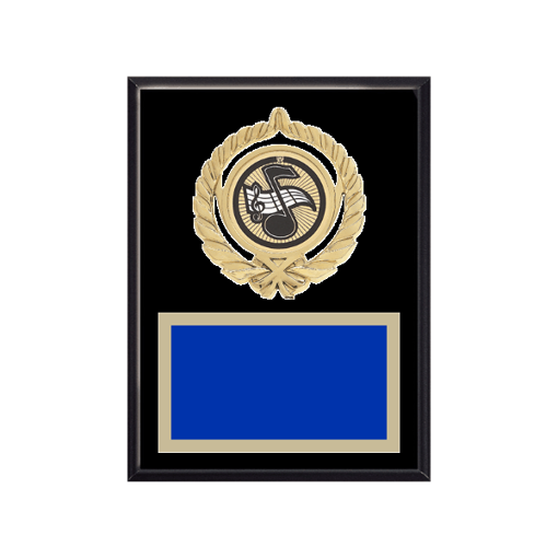"""6"""" x 8"""" Music Plaque with gold background plate, colored engraving plate, gold open wreath medallion holder and Music insert."""