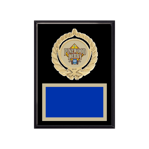 """6"""" x 8"""" Pinewood Derby Plaque with gold background plate, colored engraving plate, gold open wreath medallion holder and Pinewood Derby insert."""