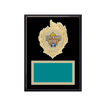 """6"""" x 8"""" Pinewood Derby Plaque with gold background, colored engraving plate, gold flame medallion holder and Pinewood Derby insert."""