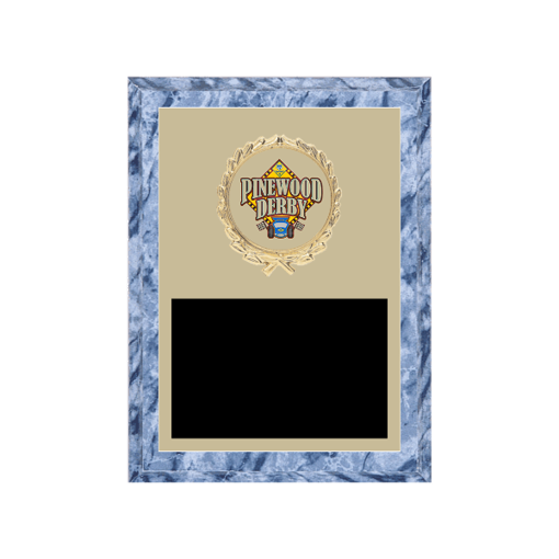 "6"" x 8"" Pinewood Derby Plaque with gold background plate, colored engraving plate, gold wreath medallion and Pinewood Derby insert."
