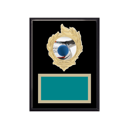 """6"""" x 8"""" Racquetball Plaque with gold background, colored engraving plate, gold flame medallion holder and Racquetball insert."""