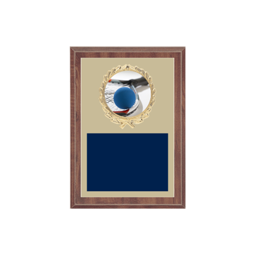 "5"" x 7"" Racquetball Plaque with gold background plate, colored engraving plate, gold wreath medallion and Racquetball insert."