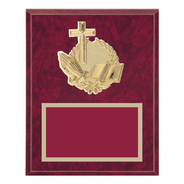 """8"""" x 10"""" Religion Plaque with gold background plate, colored engraving plate and gold 3D Religion medallion."""
