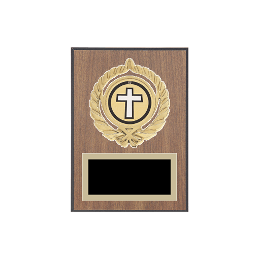 """5"""" x 7"""" Religion Plaque with gold background plate, colored engraving plate, gold open wreath medallion holder and Religion insert."""