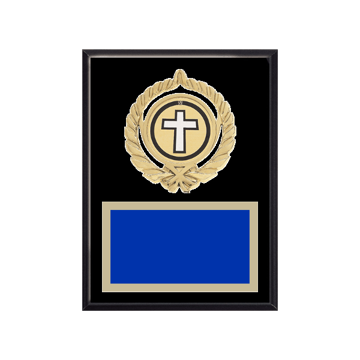 """6"""" x 8"""" Religion Plaque with gold background plate, colored engraving plate, gold open wreath medallion holder and Religion insert."""