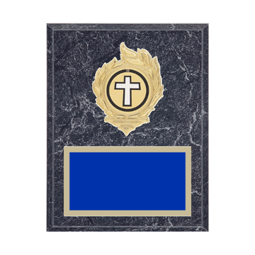 """7"""" x 9"""" Religion Plaque with gold background, colored engraving plate, gold flame medallion holder and Religion insert."""