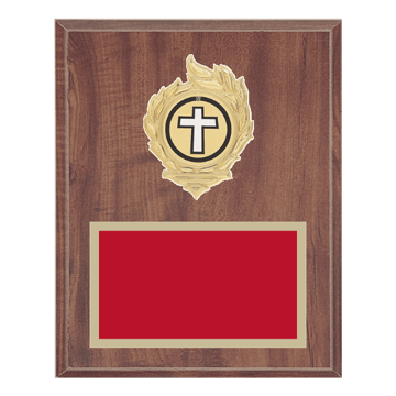 "8"" x 10"" Religion Plaque with gold background, colored engraving plate, gold flame medallion holder and Religion insert."