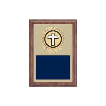 "5"" x 7"" Religion Plaque with gold background plate, colored engraving plate, gold wreath medallion and Religion insert."
