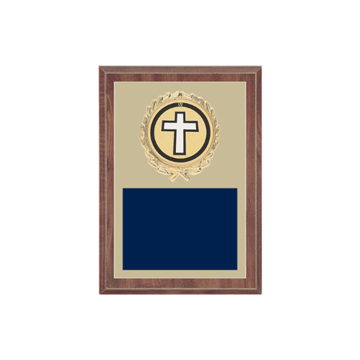 """5"""" x 7"""" Religion Plaque with gold background plate, colored engraving plate, gold wreath medallion and Religion insert."""