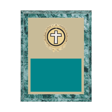 """7"""" x 9"""" Religion Plaque with gold background plate, colored engraving plate, gold wreath medallion and Religion insert."""