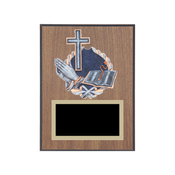 "6"" x 8"" Religion Plaque with gold background plate, colored engraving plate and full color 3D resin Religion medallion."