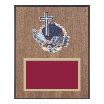 """8"""" x 10"""" Religion Plaque with gold background plate, colored engraving plate and full color 3D resin Religion medallion."""