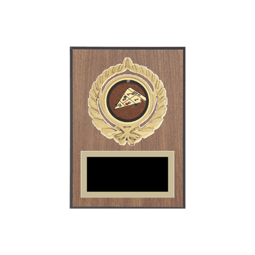 """5"""" x 7"""" Shuffleboard Plaque with gold background plate, colored engraving plate, gold open wreath medallion holder and Shuffleboard insert."""