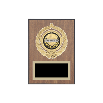 """5"""" x 7"""" Sportsmanship Plaque with gold background plate, colored engraving plate, gold open wreath medallion holder and Sportsmanship insert."""