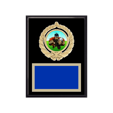 """6"""" x 8"""" Rugby Plaque with gold background plate, colored engraving plate, gold open wreath medallion holder and Rugby insert."""