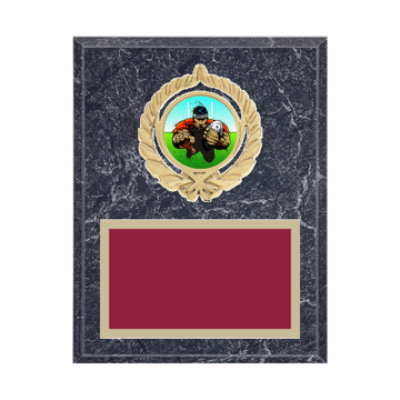 """7"""" x 9"""" Rugby Plaque with gold background plate, colored engraving plate, gold open wreath medallion holder and Rugby insert."""