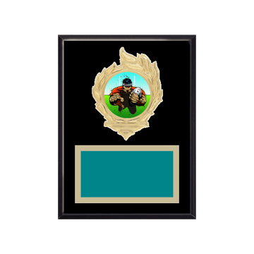 """6"""" x 8"""" Rugby Plaque with gold background, colored engraving plate, gold flame medallion holder and Rugby insert."""